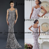 awesome laces - Janique Silver Long Embroidery Awesome Queen Prom Party Formal Gown Sweetheart Cap Sleeve Fishtail Arabic Occasion Evening Dresses