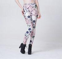 Cheap Sexy fashion ROSE & SKULL Printed Female Fitness sportwear Leggings Femininos Fashion Slim Elastic Pants Women Leggins Mujer