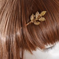 Wholesale Hot sell Vintage fashion hair Jewelry Golden Leaf hair claw clip hair accessory
