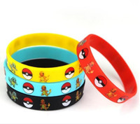 Wholesale 4 COLORS Poke Bracelets Pocket Monster silicone wristband Soft Silicone Wrist Straps Kids Children Anime Gifts TOP1410QQ
