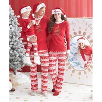 Wholesale 2016 New Christmas Kids Mom Dad Long Sleeve T shirt Pants Striped Matching Family Pajama Set Sleepwear
