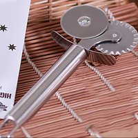Wholesale High Quality Stainless Steel Double Roller Pizza Knife Cutter Pastry Pasta Dough Crimper Round Hob Lace Wheel Kitchen Tools