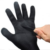 backpacking gloves - Gloves Proof Protect Stainless Steel Wire Safety Gloves Cut Metal Mesh Butcher Anti cutting breathable Travel Kit black