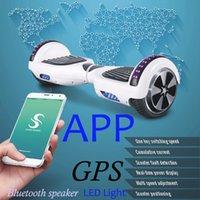 al por mayor aplicación para teléfono celular-Scooters eléctricos 6,5 pulgadas altavoz Bluetooth inteligente equilibrio inteligente equilibrio inteligente hoverboard Teléfono celular APP UL LED de luz