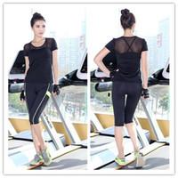 aerobic fitness workouts - New Korea Design Women Aerobic Workout Clothes Dance Gym Fitness Set Summer Fluorescence Sexy Mesh Shirt