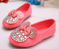 Wholesale Girls Shoes Kids Casual Children Shoes Girls Rhinestone Cartoon Design Princess Bowknot Shoes Baby Girl Shoes Mickey Mouse Red Fashion Shoes