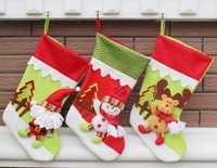 Wholesale Snowman Ornaments Sale - New Year Lovely 3 piece lots Christmas Stocking Snowman Bag Gift Sock Ornament Socks Christmas Decoration Hot Sale
