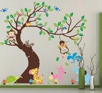 Wholesale Cartoon Animal Tree wallpaper D vintage child vinyl wall sticker home decor decoration for kids rooms adesivo de parede