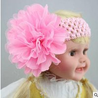 artificial wool fabric - European and American children s knitted headband large mesh fabric flower fold hand knit baby hair band hair band