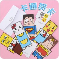 Wholesale Cute little animals small three dimensional greeting cards birthday card Korea creative gift mini holiday card envelopes L2078