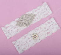 Wholesale Cheap Lace Crystals Beaded Bridal Garters Leg Garters For Wedding Garters White Leg Accessoris In Stock