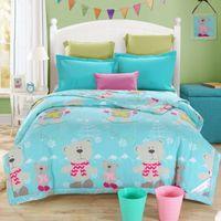 Wholesale skiing teddy bear cartoon sea green summer quilt cm cm size bedding for children kids
