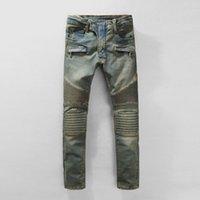 Wholesale balmain Biker Jeans Sale Rushed Slim Low Four Seasons Paragraph Balmain Jeans for Men Minimalist Europe Locomotive Pants