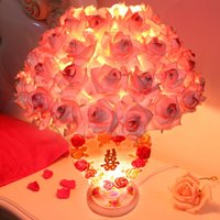 abs romantic gift - 1 piece European romantic pink roses desk lamp Creative wedding gift for friend Marriage room flower practical rose table lamp