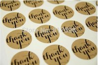 Wholesale Brown Kraft Thank You Stickers cm