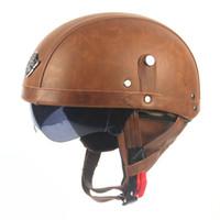 achat en gros de casque de moto demi-visière-Livraison gratuite Populaire unisexe moto moto cavalier demi ouvert visage PU cuir casque visière avec col