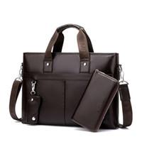 Wholesale Promotion Simple Dot Famous Brand Business Men Briefcase Bag Luxury Leather Laptop Bag Man Shoulder Bag bolsa maleta