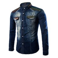 Wholesale 2016 New Fashion Brand Men Jeans Shirt Leisure Slim Fit Casual Denim Shirts Long Sleeve Male Cowboy Shirt
