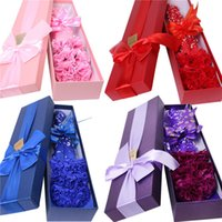 bath oil with flower - 6pcs Carnation Soap Flower Plastic with Gift Box Birthday Teacher s Mothers Day Romantic Wedding Scented Essential Oil Set Bath