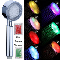 aroma shower head - 48 Newly Colorful Handheld Color LED Romantic Light Water Bath Home Bathroom Aroma Shower Head Glow