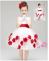 Wholesale 2016 NF011 New Arrival In Stock Cheap Discount Red Bow Sleeveless Elegant Ball Gown Baby Lovely White Wedding Evening Flower Girl Dresses