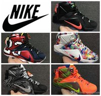 basket - Nike Lebron XII Polygon Mirror Rainbow Basketball Shoes Original LBJ leather Men All Star Christmas Sneakers US7