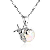 Wholesale New Design Sterling Silver Clear Round Opal Ladybug Animal Charm Pendant Fits Necklace Bracelet For Women No50 lw FP449