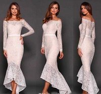 autumn specials - 2016 Designer Mermaid wedding Dresses Sexy Full Lace Long Sleeves High Low Special Occasion Dresses Backless Cheap Formal Party Gowns
