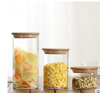 bamboo pot cover - Production glass tea pot Food packing of sweets scented tea ideas straight bamboo cover storage tank