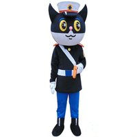 adult policeman costume - Professional Factory On Sale new black cat policeman mascot costume Cartoon Animal adult Fancy Dress Cartoon Suit