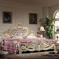 antique french style beds - Rococ style classic european furniture French romantic solid wood baroque antique bed with cracking paint and gold leaf gilding