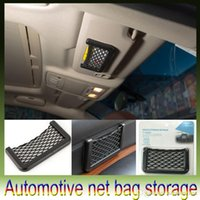 Wholesale Car Net Bag Car Organizer Nets Automotive Pockets With Adhesive Visor Car Syling Bag Storage for tools Mobile phone