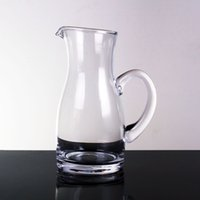 Wholesale hot sale handmade soda glass clear glass decanter with handle for wine drinking hot cut mouth