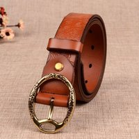 Wholesale Genuine Leather CowSkin Belts for Women Vintage Print Metal Round Pin Buckle Belt Retro Fashion Female Girdle Wide Band