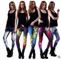 Wholesale Plus size S XXXX Leggings pants designs Fashion Women Space Print Pants Galaxy Leggings Black Milk Leggins Adventure Time Leggings by DHL
