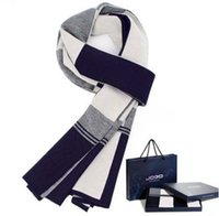 Wholesale Silk Satin Gift Boxes - winter design striped Plaid scarf men shawls scarves,2016 foulard fall fashion designer wrap men business scarf echarpe with gift box warm t