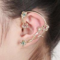 Wholesale Europe Ear Cuff Ear clip ear bone folder ear hook nightclub personality rose petals gold earrings and retail