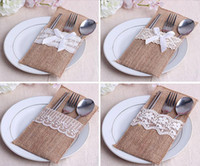 Wholesale 24pcs Linen Lace Tableware Bags Wedding Favors And Gifts Wedding Supplies Wedding Souvenirs Wedding Gifts For Guests May Style