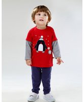 Wholesale new baby kids boys clothing autumn and winter clothes with cute cartoon printed shirt trousers cotton clothing sets