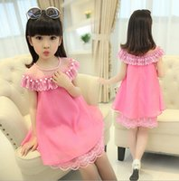Wholesale 2016 Children Girls Summer Cute Love Princess Dress Straight Gauze Lolita Children Girls Clothes Chiffon Dress A