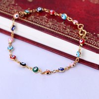 Wholesale Fine Jewelry For Women K Rose Gold Plated Colorful Crystal Zircon Stone Evil Eye Design Gold Chain Bracelets Bangles Pulsera