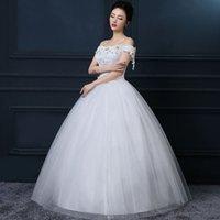 Wholesale Word shoulder wedding dress new European and American fashion big yards Qi bridal gown wedding custom spring and summer