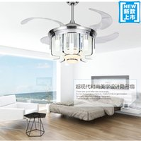 Wholesale Novel ABS LED fan light ceiling fan with remote control fan ceiling lights simple modern living room dining room fans inch