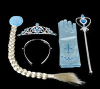 Wholesale Frozeni Anna Elsa Headwear set Crown Wig Wand Gloves Party Dress Up Princess Elsa Anna Party Accessory