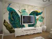 Wholesale Aesthetic Peacock Wall Stickers Decorative Non woven Dining Room Bedroom Living Room TV Background Manufacturers Rapid Delivery