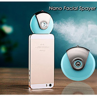 apple humidifier - Outdoor portable Cellphone Mist Sprayer Nano Ionic Handy Facial Humidifier Atomization Beauty Instrument Steamer for iPhone and Android