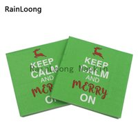beverage napkins - RainLoong Plys Beverage Paper Napkin Keep Calm And Merry On Christmas Festive Party Supply Tissue Napkin Serviettes Decoupage cm