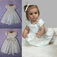 Wholesale Adorable Appliques Sequins Ivory Flowers Christening Dresses For Baby Girls Jewel Neck Sleeves Satin Baptism Dress First Communion Gowns
