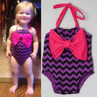 Wholesale Girls Swimsuit Children Clothes Baby Chevron One Piece Clothing Summer Bikini Kids Swimwear Child Sets Beachwear Girl Dress Ciao C26247