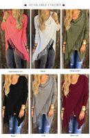 Wholesale New Autumn women knitted blouse hot sale medium long slim classic tassel slash winter dress fashion long sleeve ladies tops colors S XXL